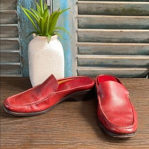 Cole Haan deep red slide on mule loafers leather